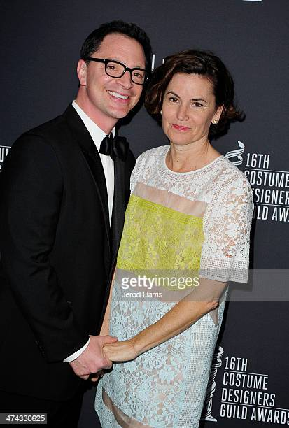 Host Joshua Malina and costume designer Melissa Merwin attend the 16th Costume Designers Guild Awards with presenting sponsor Lacoste at The Beverly...