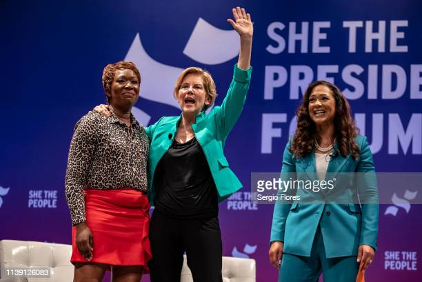 MSNBC host Joy Reid Democratic presidential candidate Sen Elizabeth Warren and She The People founder Aimee Allison address the crowd as Warren exits...