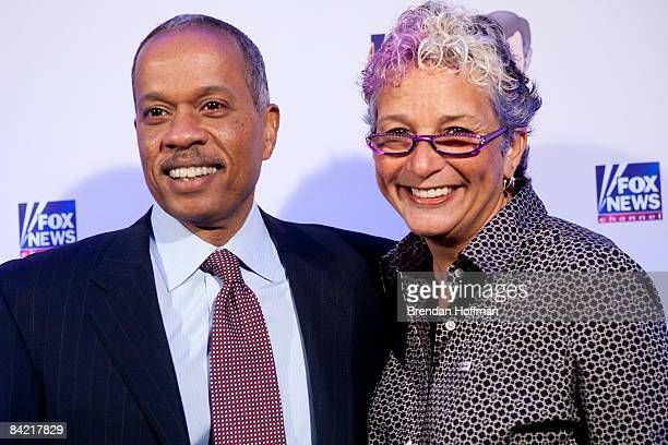 NPR host Juan Williams poses with his wife on the red carpet upon arrival at a salute to FOX News Channel's Brit Hume on January 8 2009 in Washington...