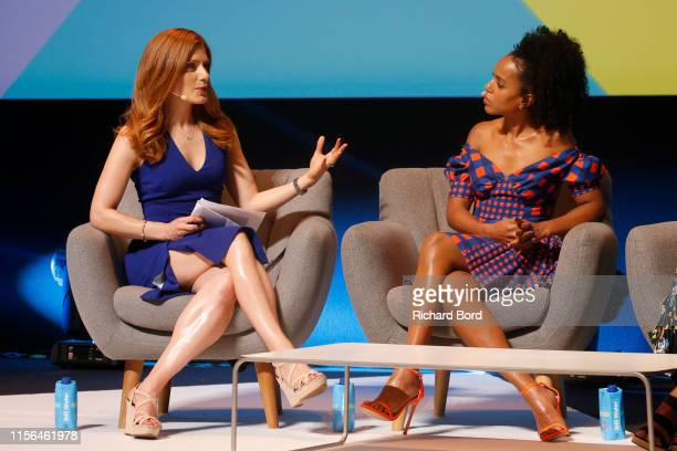 Host Julia Boorstin and actress Kerry Washington speak on stage during the Hulu session at the Cannes Lions 2019 Day One on June 17 2019 in Cannes...