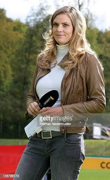 TV host Julia Scharf is seen prior to the Under 20 International Friendly match between Germany and Switzerland at GeberitArena on October 9 2011 in...