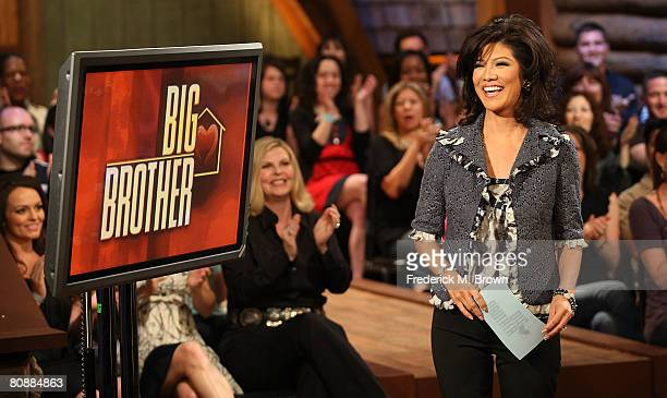 """Host Julie Chen speaks during the """"Big Brother Season 9 Live Finale"""" at CBS Studio Center on April 27, 2008 in Studio City, California."""