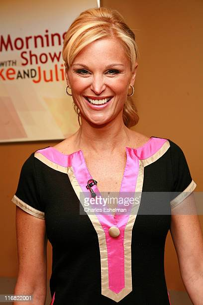 TV Host Juliet Huddy pauses in the Green Room at The Morning Show with Mike and Juliet at FOX studios on September 25 2008 in New York City