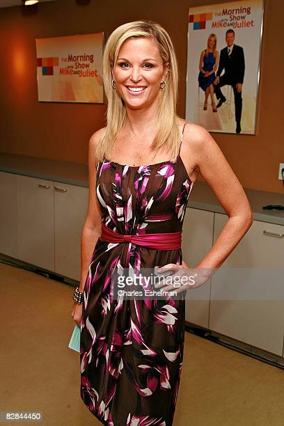 Host Juliet Huddy poses backstage at The Morning Show with Mike and Juliet at Fox Studios on September 16 2008 in New York City