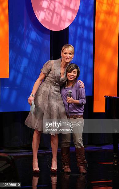 Host Juliet Huddy poses with singer and former American Idol contestant Ramiele Malubay on The Morning Show with Mike and Juliet at Fox Studios on...