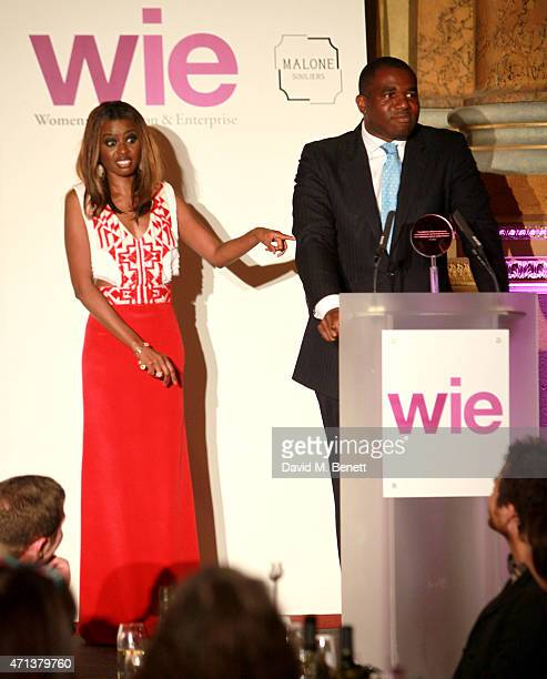 Host June Sarpong and David Lammy as he presents the WIE Community Award at the LDNY show and WIE Award gala sponsored by Maserati at Goldsmith Hall...
