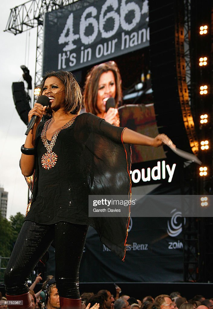 Host June Sarpong onstage during the 46664 Concert In Celebration Of Nelson Mandela's Life held at Hyde Park on June 27, 2008 in London, England.