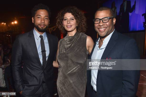 Host Jussie Smollett Chrysalis Butterfly Ball Cochair Donna Langley and Actor Jordan Peele at the 16th Annual Chrysalis Butterfly Ball on June 3 2017...