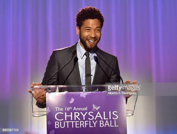 Host Jussie Smollett speaks onstage at the 16th Annual Chrysalis Butterfly Ball on June 3 2017 in Los Angeles California