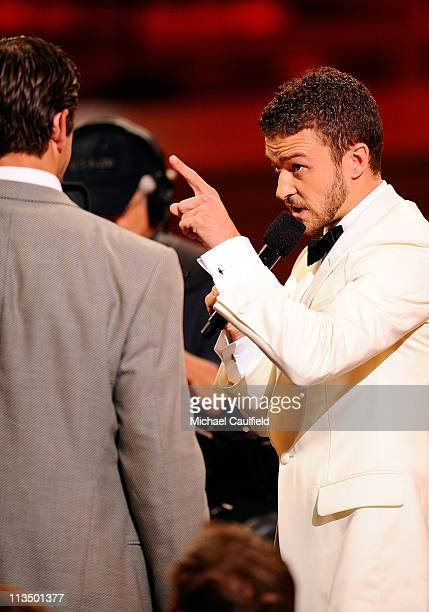 Host Justin Timberlake embraces NFL player Aaron Rodgers during the 2008 ESPY Awards held at NOKIA Theatre LA LIVE on July 16 2008 in Los Angeles...
