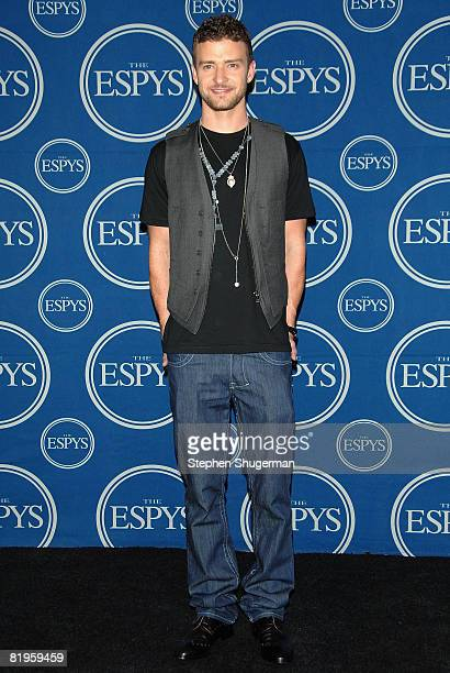 Host Justin Timberlake poses in the press room at the 2008 ESPY Awards held at NOKIA Theatre LA LIVE on July 16 2008 in Los Angeles California The...