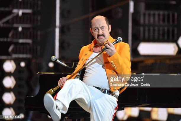 Host Kad Merad performs on stage the Cesar Film Awards 2019 at Salle Pleyel on February 22 2019 in Paris France