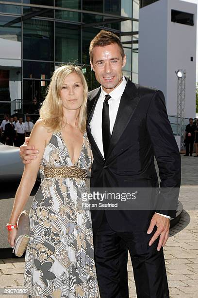 TV host Kai Pflaume and wife Ilke attend the Audi centennial celebration at Audi Forum Ingolstadt on July 16 2009 in Ingolstadt Germany