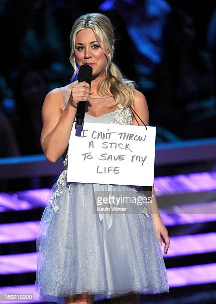 Host Kaley Cuoco speaks onstage at the 39th Annual People's Choice Awards at Nokia Theatre LA Live on January 9 2013 in Los Angeles California