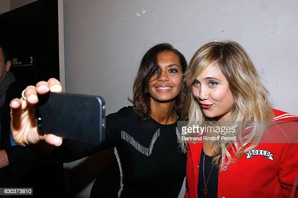 TV Host Karine Le Marchand and actress Berengere Krief pose Backstage after the triumph of the Dany De Boon Des HautsDeFrance Show at L'Olympia on...