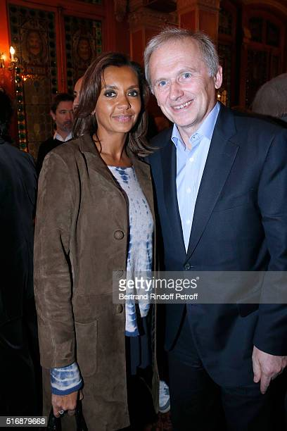 M6 TV Host Karine Le Marchand and VicePresident of M6 Group Thomas Valentin attend the L'Etre ou pas Theater play at Theatre Antoine on March 21 2016...