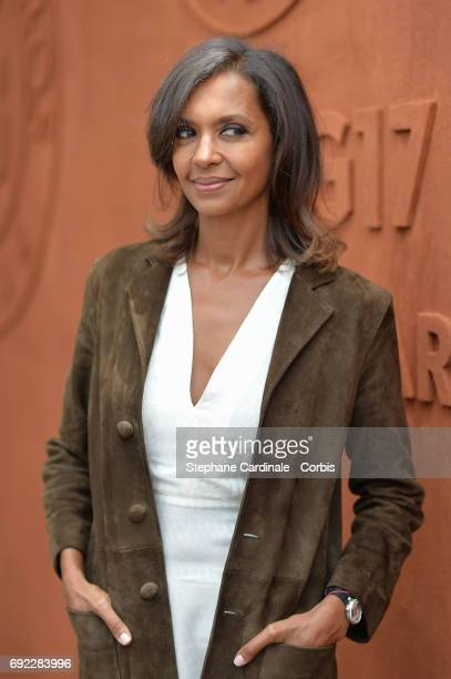 Host Karine Le Marchand attend the 2017 French Tennis Open Day Height at Roland Garros on June 4 2017 in Paris France