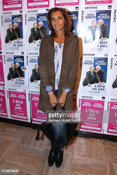 Host Karine Le Marchand attends the L'Etre ou pas Theater play at Theatre Antoine on March 21 2016 in Paris France