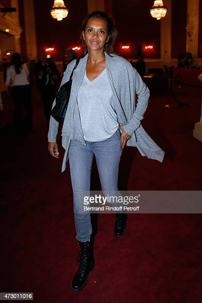 Host Karine Le Marchand attends the 'Open Space' Theater Play at Theatre de Paris on May 11 2015 in Paris France