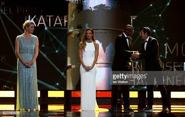 Host Kate Abdo speaks as new Laureus Academy Member Maria HoeflRiesch looks on during the 2016 Laureus World Sports Awards at the Messe Berlin on...