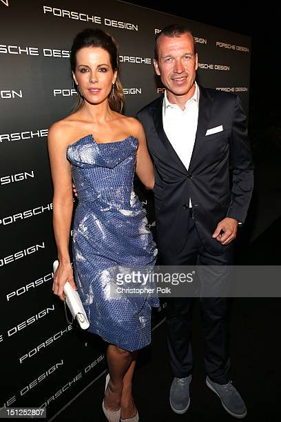 Host Kate Beckinsale and CEO of Porsche Design Group Juergen Gessler attend Porsche Design's 40th Anniversary Event held at a private residence on...