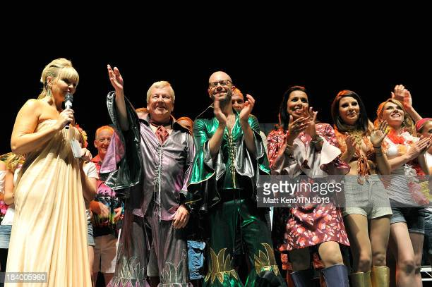 Host Kate Thornton with reporters Lawrence McGinty Richard EdgarNina Nannar and Lucrezia Millarini of the ITV News Team perform at the annual...