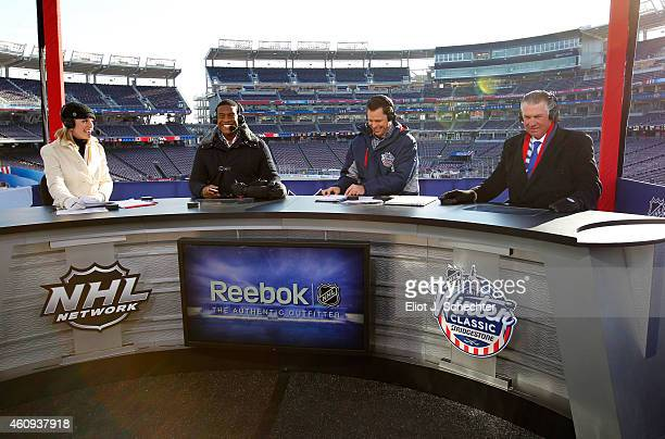 Host Kathryn Tappen and former NHL players and analysts Kevin Weekes Martin Biron and Barry Melrose cover practice day prior to the 2015 Bridgestone...