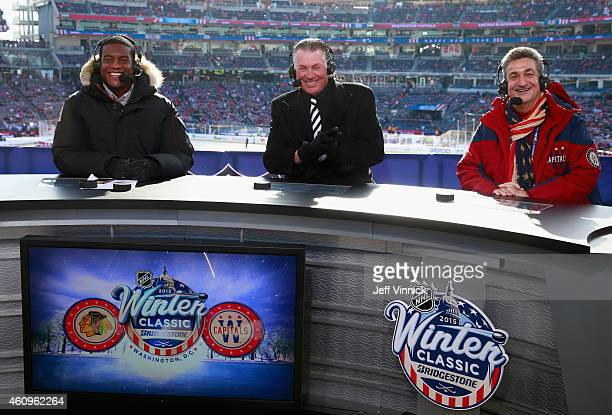 Host Kathryn Tappen NHL analysts Kevin Weekes and Barry Melrose Washington Capitals owner Ted Leonsis sit on the panel during NHL Live before the...