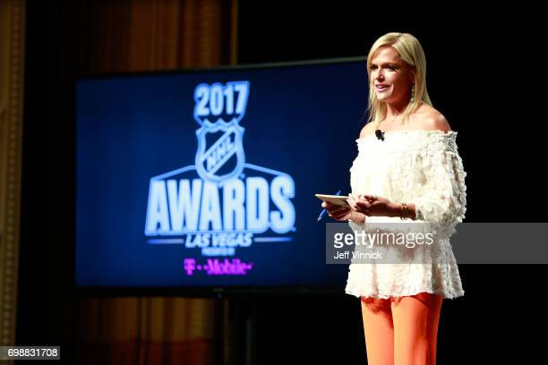 Host Kathryn Tappen speaks onstage during the 2017 NHL Humanitarian Awards on June 20, 2017 in Las Vegas, Nevada.