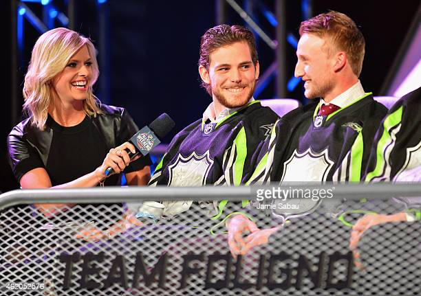 Host Kathryn Tappen speaks to Tyler Seguin of the Dallas Stars and Steven Stamkos of the Tampa Bay Lightning and Team Foligno during the NHL AllStar...