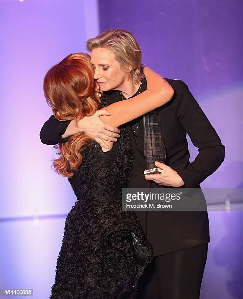 Host Kathy Griffin and honoree Jane Lynch speak onstage at 'TrevorLIVE LA' honoring Jane Lynch and Toyota for the Trevor Project at Hollywood...
