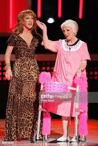 Host Kathy Griffin and mother Maggie onstage during Bravo Network's 2nd Annual AList Awards at the Orpheum Theatre on April 5 2009 in Los Angeles...