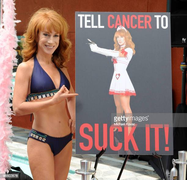TV host Kathy Griffin gets a public pap smear on camera to promote women's health at Palomar Hotel on April 16 2010 in Westwood California