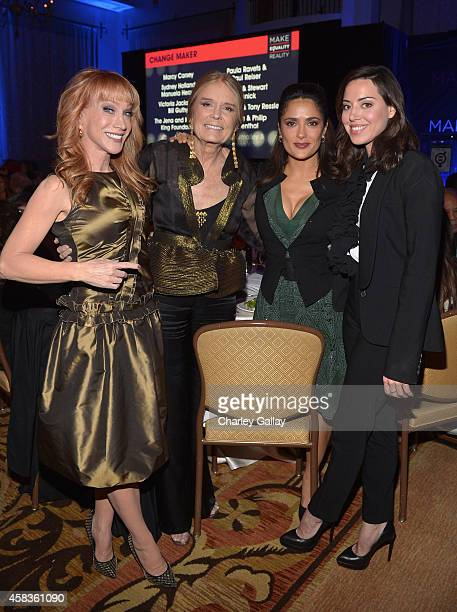 Host Kathy Griffin honorees Gloria Steinem and Salma Hayek and actress Aubrey Plaza attend The Equality Now's Make Equality Reality Event at Montage...