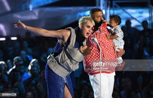 Host Katy Perry and DJ Khaled speak onstage during the 2017 MTV Video Music Awards at The Forum on August 27 2017 in Inglewood California