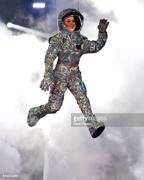 Host Katy Perry flies in onstage during the 2017 MTV Video Music Awards at The Forum on August 27 2017 in Inglewood California