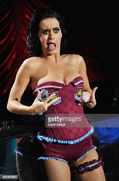 Host Katy Perry performs during the 2009 MTV Europe Music Awards held at the O2 Arena on November 5 2009 in Berlin Germany