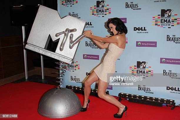 Host Katy Perry poses at the backstage boards during the 2009 MTV Europe Music Awards held at the O2 Arena on November 5 2009 in Berlin Germany