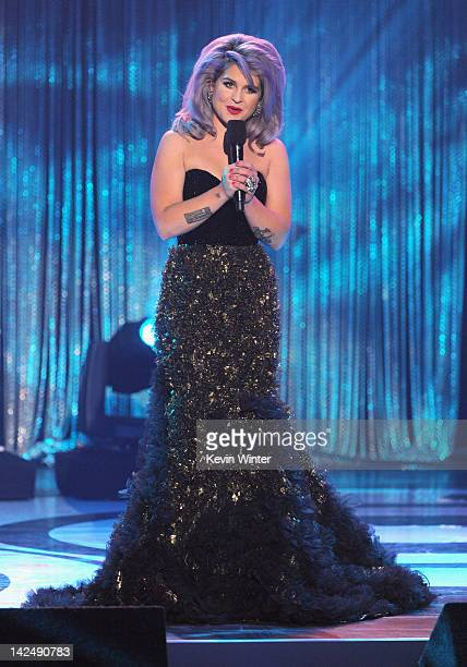 Host Kelly Osbourne speaks onstage at Logo's NewNowNext Awards 2012 at Avalon on April 5 2012 in Hollywood California
