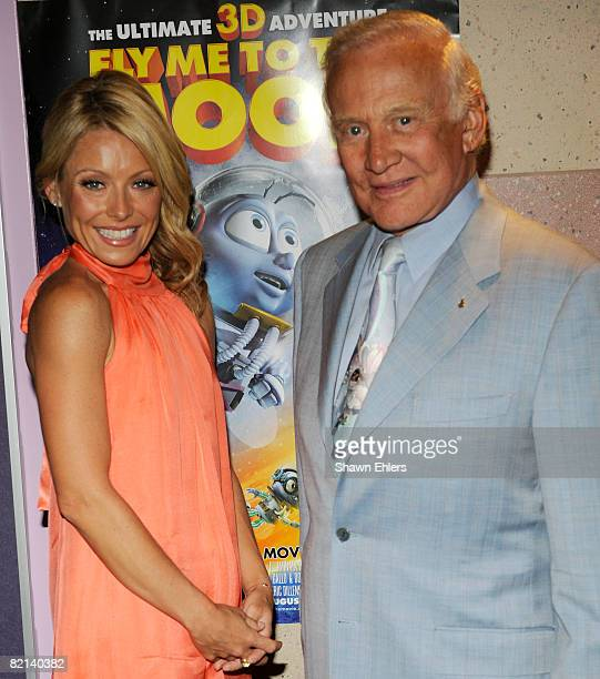 TV host Kelly Ripa and astronaut Buzz Aldrin attend the screening of Fly Me to the Moon at the Regal Union Square on July 31 2008 in New York City