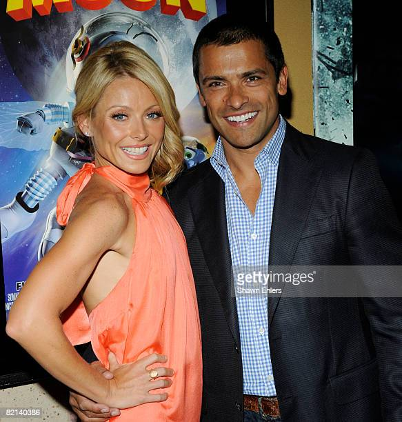 TV host Kelly Ripa and husband actor Mark Consuelos attend the screening of Fly Me to the Moon at the Regal Union Square on July 31 2008 in New York...