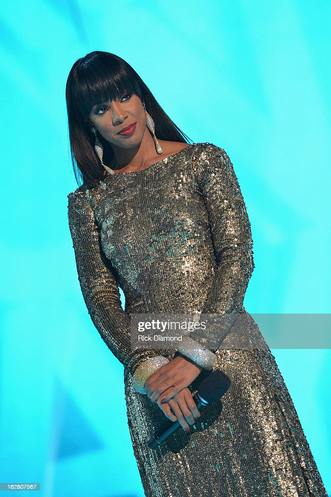 Host Kelly Rowland on stage at BET's Rip The Runway 2013:Show at Hammerstein Ballroom on February 27, 2013 in New York City.