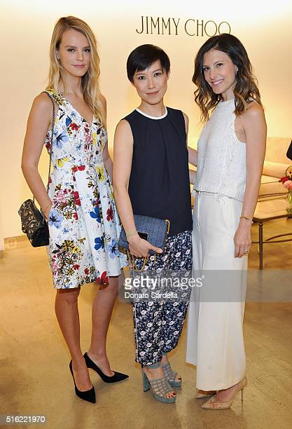 Host Kelly Sawyer Patricof Creative Director Jimmy Choo Sandra Choi and host Norah Weinstein attend Saks Fifth Avenue's Celebration of Jimmy Choo's...