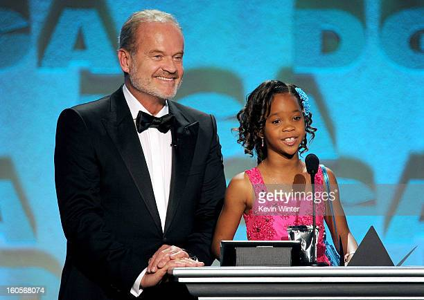 Host Kelsey Grammer and actress Quvenzhane Wallis speak onstage during the 65th Annual Directors Guild Of America Awards at Ray Dolby Ballroom at...