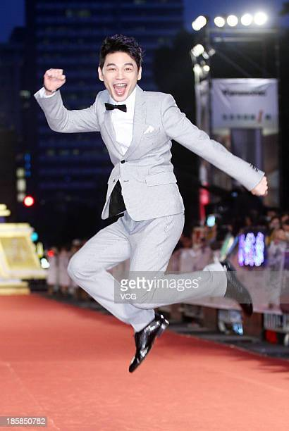 Host Ken attends the red carpet of the 48th Golden Bell Award on October 25 2013 in Taipei Taiwan of China