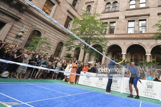 Host Kerry Feirman Rafael Nadal and Serena Williams attend 2018 Lotte New York Palace Invitational on August 23 2018 in New York City