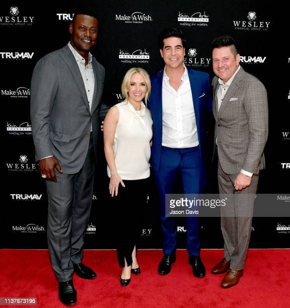 Host Kevin Carter Fox News Channel's Dana Perino and Jesse Watters and host Jay DeMarcus attend Waiting for Wishes Celebrity Waiters Dinner hosted by...