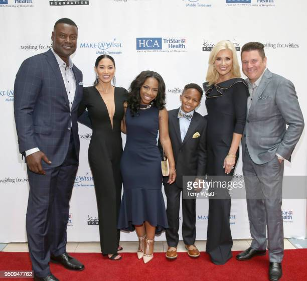 Host Kevin Carter Sema Carter Brittney MakeAWish child Kayden Allison Alderson and host Jay DeMarcus attend the 17th annual Waiting for Wishes...