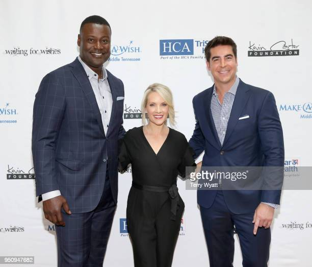 Host Kevin Carter TV personality Dana Perino and TV host Jesse Watters attend the 17th annual Waiting for Wishes celebrity dinner at The Palm on...