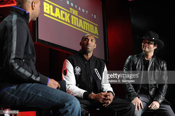 Host Kevin Frazier talks to film director Robert Rodriguez and Kobe Bryant about the trailer for Black Mamba movie during the Nike Event on January...